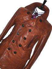 Luxe Homme BURBERRY London 100% Cuir Antique Marron Vareuse Veste Manteau 40R