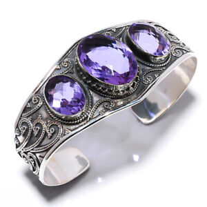 Alexandrite Colorchange Gemstone 925 Bali Sterling Silver Cuff Adst. T3052
