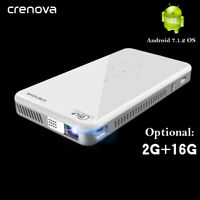 Crenova Mini Portable projector DLP LED 3D Android 7.1OS with Bluetooth WiFi
