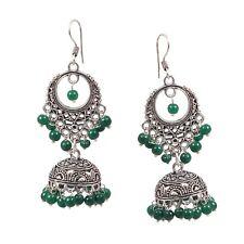 Traditional Silver Plated Oxidized jhumka jhumki Green Beads Earrings