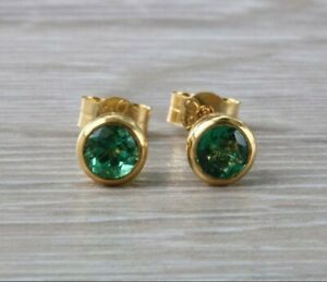 1 ct Natural IGI Certificated Emerald Solitaire Stud Earrings 14k Yellow Gold FN