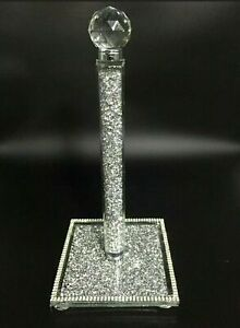 CRUSHED DIAMOND SILVER CRYSTAL FILLED KITCHEN ROLL HOLDER TISSUE HOLDER/ROLL💎