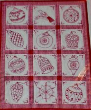 """ANTIQUE REDWORK Wall Quilt CHRISTMAS Pattern BLUE BERRY HILL DESIGN 33""""x 27"""" NEW"""
