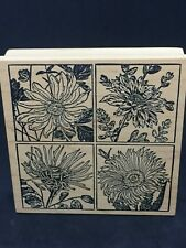 """Magenta Rubber Stamp """"Framed Daisies"""",Botanical, Squares, Flowers, NEW #09139Q"""