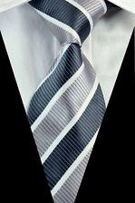 PRICED TO CLEAR! Mens Classic Triple Stripe Jacquard Silk Necktie Tie Grey White