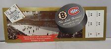 The Last Hurrah Replica Ticket Boston Bruins Vs Montreal Canadiens 9/26/95 Rare