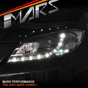 Black DRL LED Projector Head Lights for MAZDA 3 BK 2003-2009 4 doors Sedan