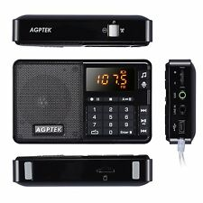 AGPTEK Mini R08 FM Radio Receiver REC Recorder MP3 Player Rechargeable Black New