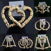 Bamboo Hip-Hop Gold Tone Punk Large Joint Big Hoops Circle Earrings Hoop Women
