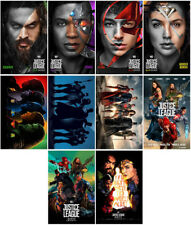 10pc Justice League Movie 2017 Mirror Surface Card Sticker Promo Card Photo H77
