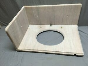 Antique Left Corner 20x30 Tennessee Rose Marble Bathroom Sink Old Vtg 309-19E