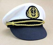 Deluxe Captain Hat Navy Cap White Gold Black Captains Marine Costume Accessory