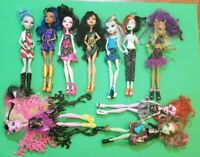 Lot Of 10 Mattel Monster High Dolls All with clothes shoes,no body parts missing