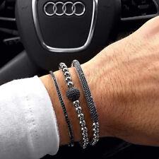 Men & Women New Style Anil Arjandas Bracelet 18k White Gold Filled Pave Macrame