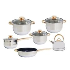 KV-1004 11-Piece Stainless Steel Cookware Set with Whistling Kettle (Gold)