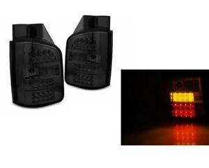 VW Transporter T5 2003-2010 Full Smoked LED Rear Back Tail Lights for Barn Doors