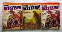 1956-57 REAL WESTERN MAGAZINE Lot of 3 • PULP FICTION • Cowboys & Old West
