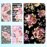 Galaxy Note 9 8 S9 S8 Plus S7 PU Leather Flip Wallet Case Flower Floral II Cover