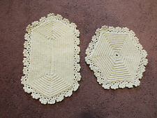 Collectible Handmade Crocheted Pot Holder Set 2 Off White 2 Sizes 9 & 7 In NICE