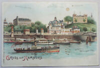 Antique HTL POSTCARD Hold to Light Gruss aus Hamburg GERMANY Hagelburg Vintage