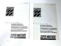 Super Nintendo SNES Precautions Safety SNS-USA/CAN-2 Authentic Insert Lot of 2