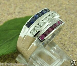 1.25 ct 14k White Gold Men's Natural Diamond Sapphire Ruby Ring USA All American