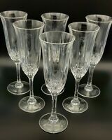 Set Of Six Lead Crystal Champagne Flutes.