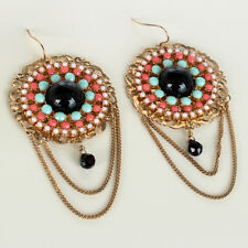 Gold Plated Round Earrings with Black Onyx Cabochons and multi-colored stones