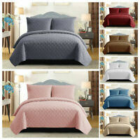 3Piece Embossed Quilted Bedspread Throw Comforter with Pillow Shams Bedding Set