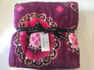 NWT Vera Bradley Plush Throw Blanket Raspberry Medallion NEW Dorm Pink Magenta