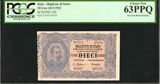 Italy 10 Lire 1923 Pick-20h Choice UNC PCGS 63 PPQ