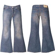 """Années '70 Style Rétro """"mega"""" Jeans +W27-Gr 34 +""""Grand Pattes d'éléphant"""""""