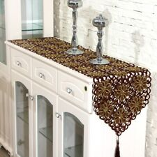 Brown Table Runner Embroidered Flower Cutwork Fabric Tablecloth Wedding Party
