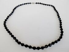 Vintage Black Glass Beaded Necklace With Brass Barrel Clasp,62cm  Long