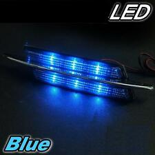CAR SIDE PANEL FENDER BUMPER VENT COVER CHROME BLUE LED LIGHT X 2 PIECES