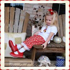 BonEful RTS NEW Boutique China Girl 2 3 LadyBug Adoption Top Capris Set Hair*Bow