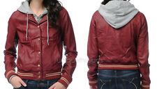OBEY Womens VARSITY LOVER Burgundy Faux Leather Hooded JACKET MEDIUM