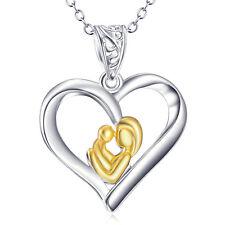 Gift-925 Sterling Silver Heart Pendant Gold Mom&Child Hug Necklace Forever Love
