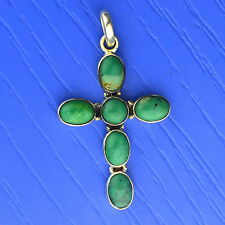 925 Sterling Silver Turquoise gemstone Cross Pendant jewelry 3.05 g