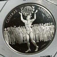 1978 UNITED NATION GENERAL ASSEMBLY STERLING SILVER MEDAL BRILLIANT UNCIRCULATED