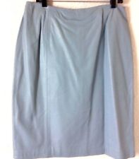 NWT Leather Skirt Light Blue Size 16 Womens  R2R Lined Knee Length Pencil