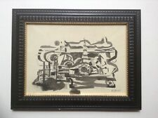 FERNAND LEGER ORIGINAL BOTH SIDES DRAWING  ABSTRACT & PORTRAITS SIGNED c1950