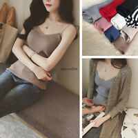 Summer Women Knit Stretch Slim V Neck Spaghetti Strap Cami Tank Top Blouse Shirt