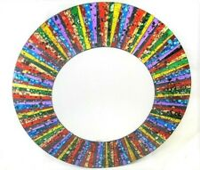 "Mosaic Glass Wall Mount Mirror ""Sunburst Fantasy"" Home Decor 509"