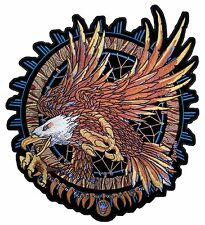 Large Indian DreamCatcher Golden American Bald Eagle Embroidered Biker Patch