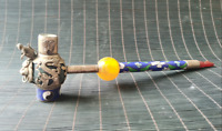 Chinese Collection Handmade tibet-silver Cloisonne inlay monkey lion dragon Pipe