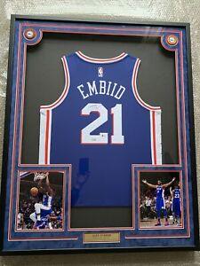 Joel Embiid Autograph Signed 76ers Blue Jersey Framed Fanatics