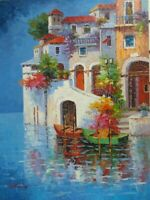 """Hand Painted Mediterranean Waterscape Art Oil Painting on Canvas 36"""" x 48"""""""