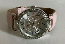 NEW! STYLE & CO SILVER DIAL CRYSTALS GLITZ BOYFRIEND PINK LEATHER WATCH SALE