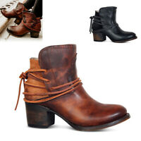 Women's Winter Vintage Round Toe Buckle Lace Up Ankle Boots High Heels Shoes